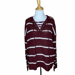Rue21 Striped Lace Front Sweater Burgundy White M